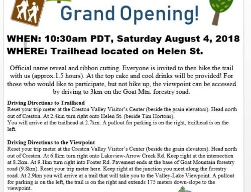Hiking Trail Grand Opening – Sat. August 4, 10:30am